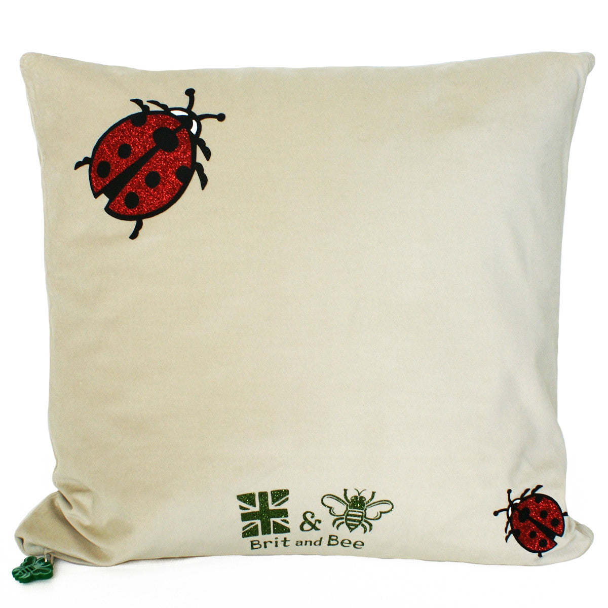 Brit and Bee Lillies and Ladybirds Throw Pillow BACK