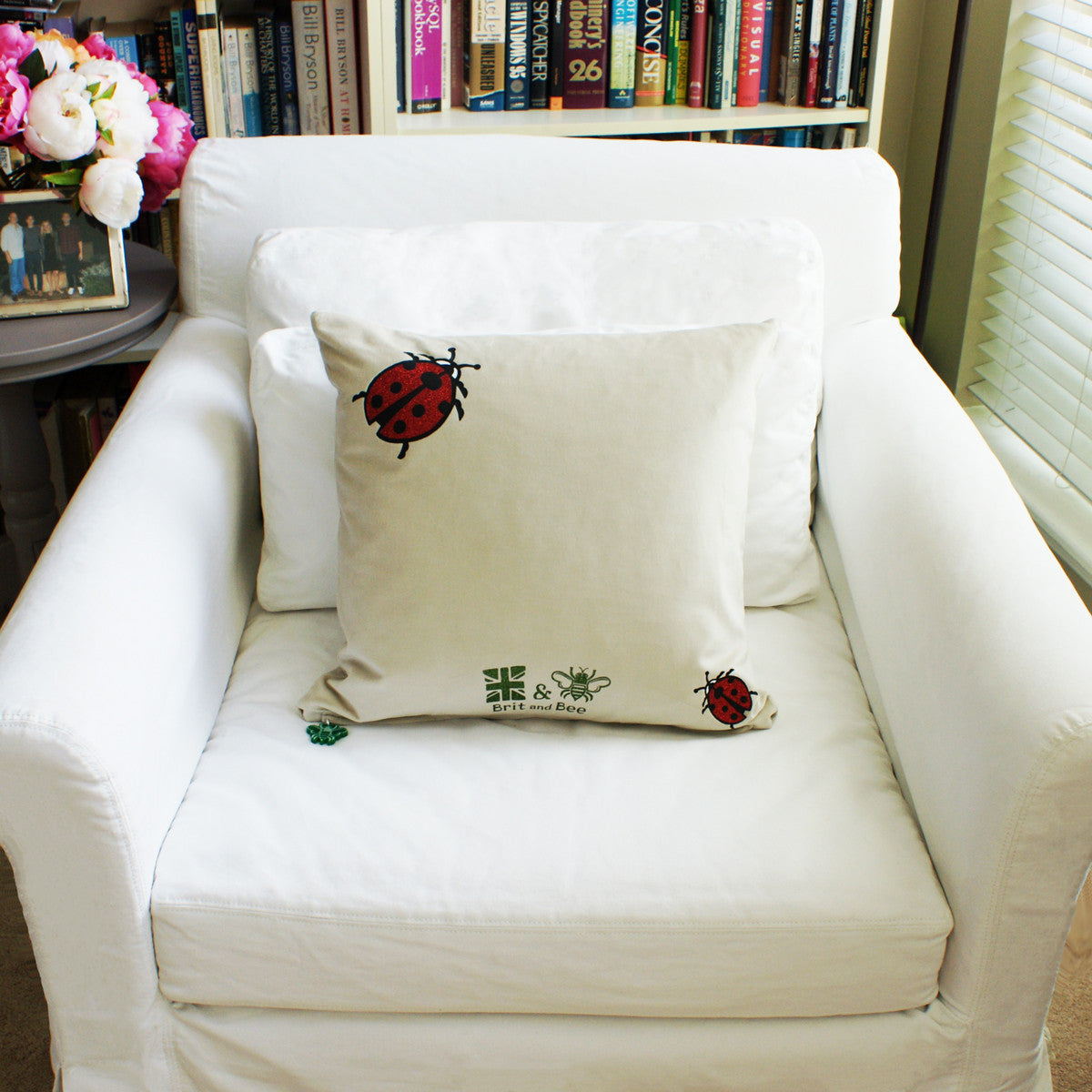 Brit and Bee Lillies and Ladybirds Throw Pillow CHAIR BACK