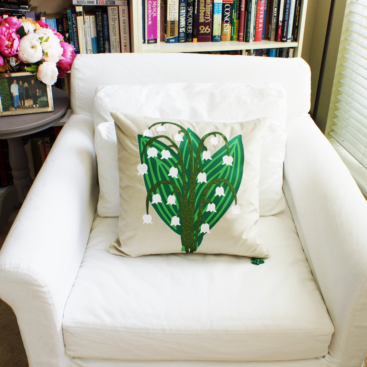 Brit and Bee Lillies and Ladybirds Throw Pillow CHAIR FRONT