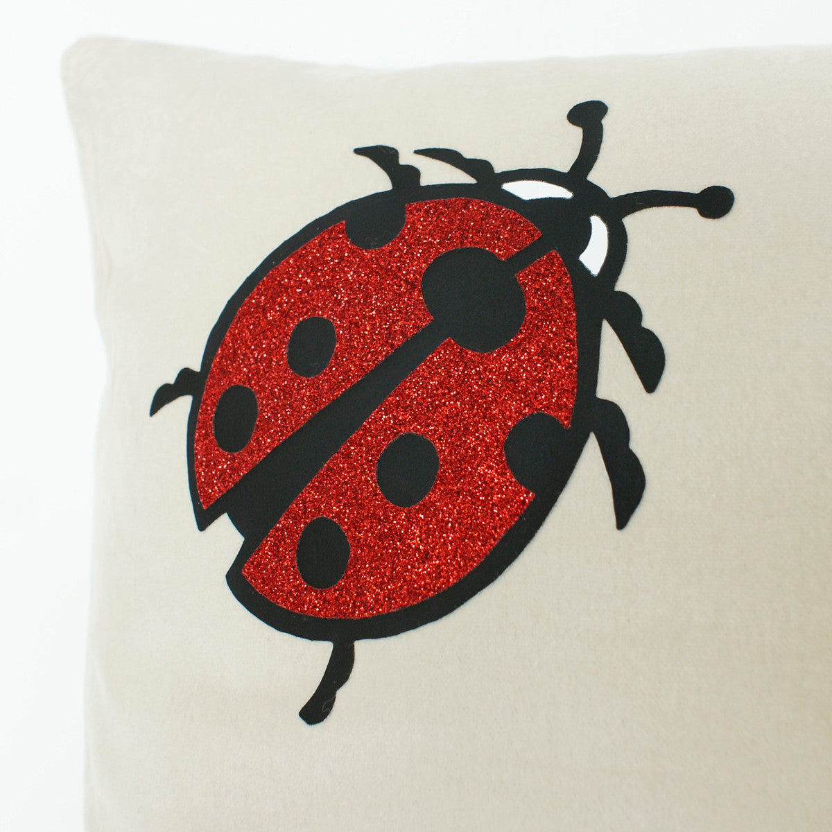 Brit and Bee Lillies and Ladybirds Throw Pillow BACK - Detail