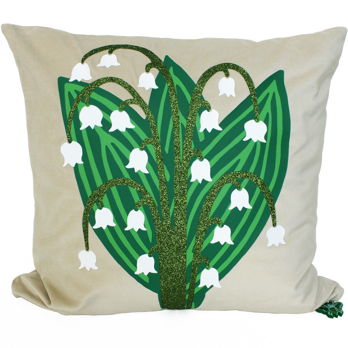 Brit and Bee Lillies and Ladybirds Throw Pillow FRONT