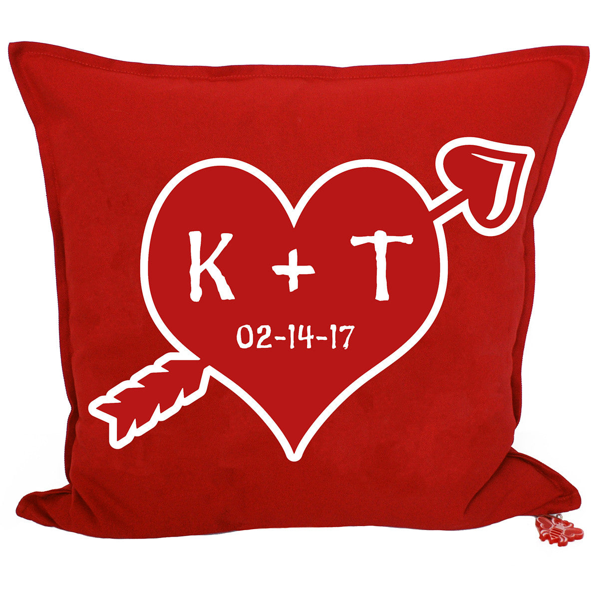 Brit and Bee Love Heart Cushion - Red/White