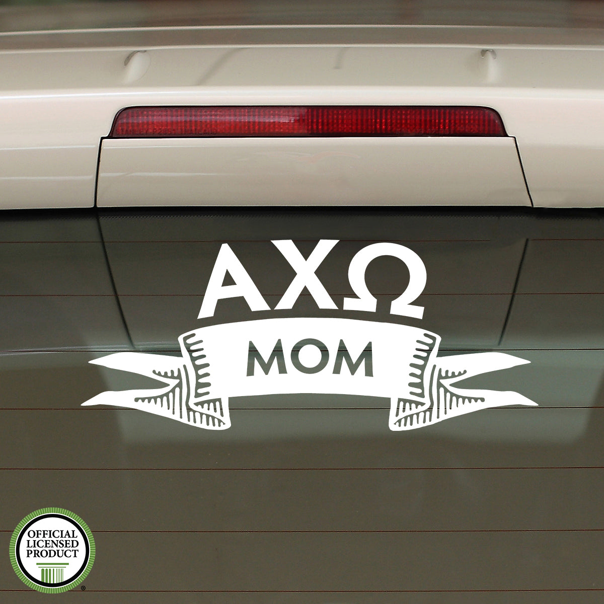 Brit and Bee Sorority Ribbon Mom Decal - Alpha Chi Omega
