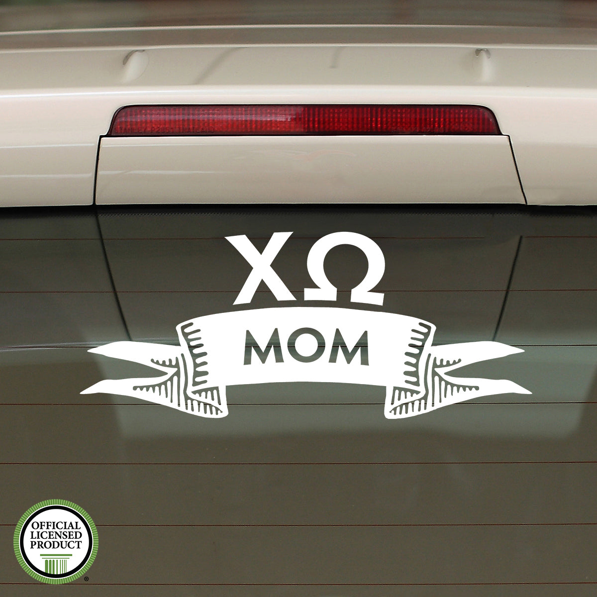 Brit and Bee Sorority Ribbon Mom Decal - Chi Omega