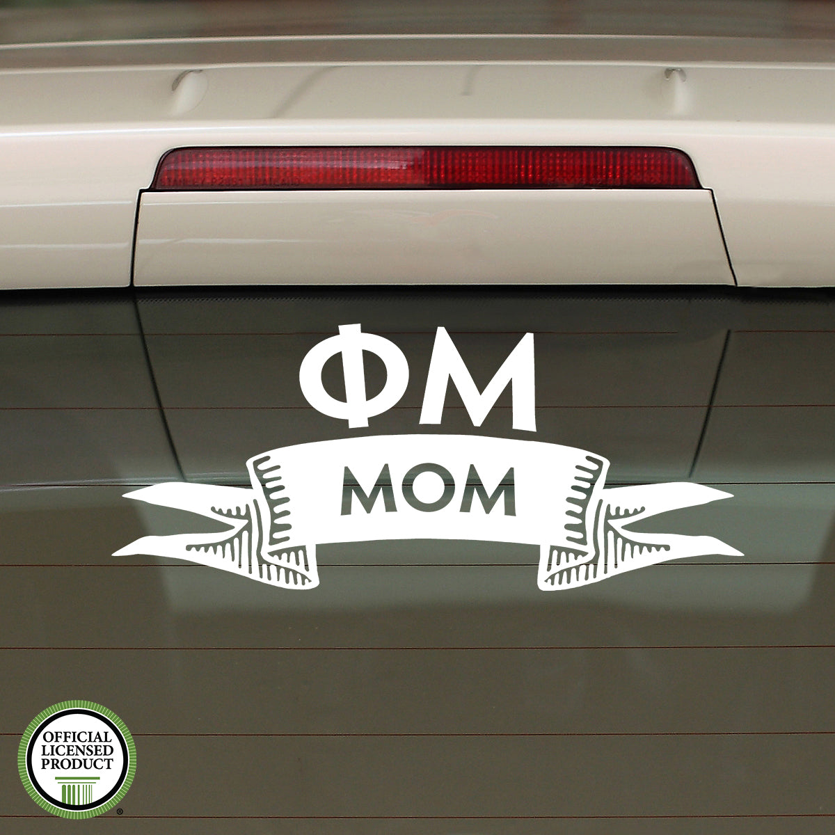 Brit and Bee Sorority Ribbon Mom Decal - Phi Mu