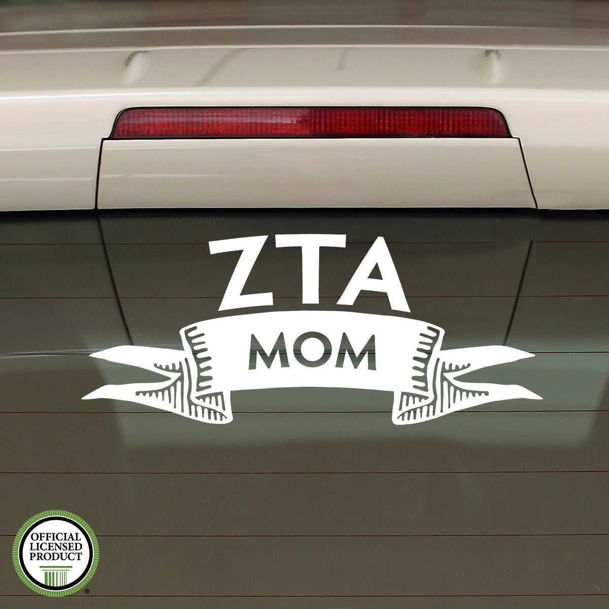 Brit and Bee Sorority Ribbon Mom Decal - Zeta Tau Alpha