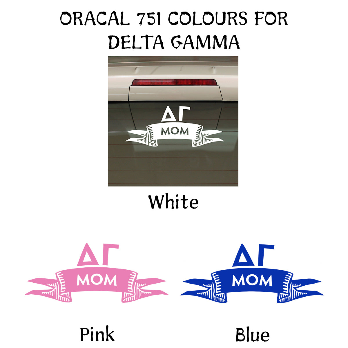 Brit and Bee Sorority Ribbon Mom Decal - Delta Gamma
