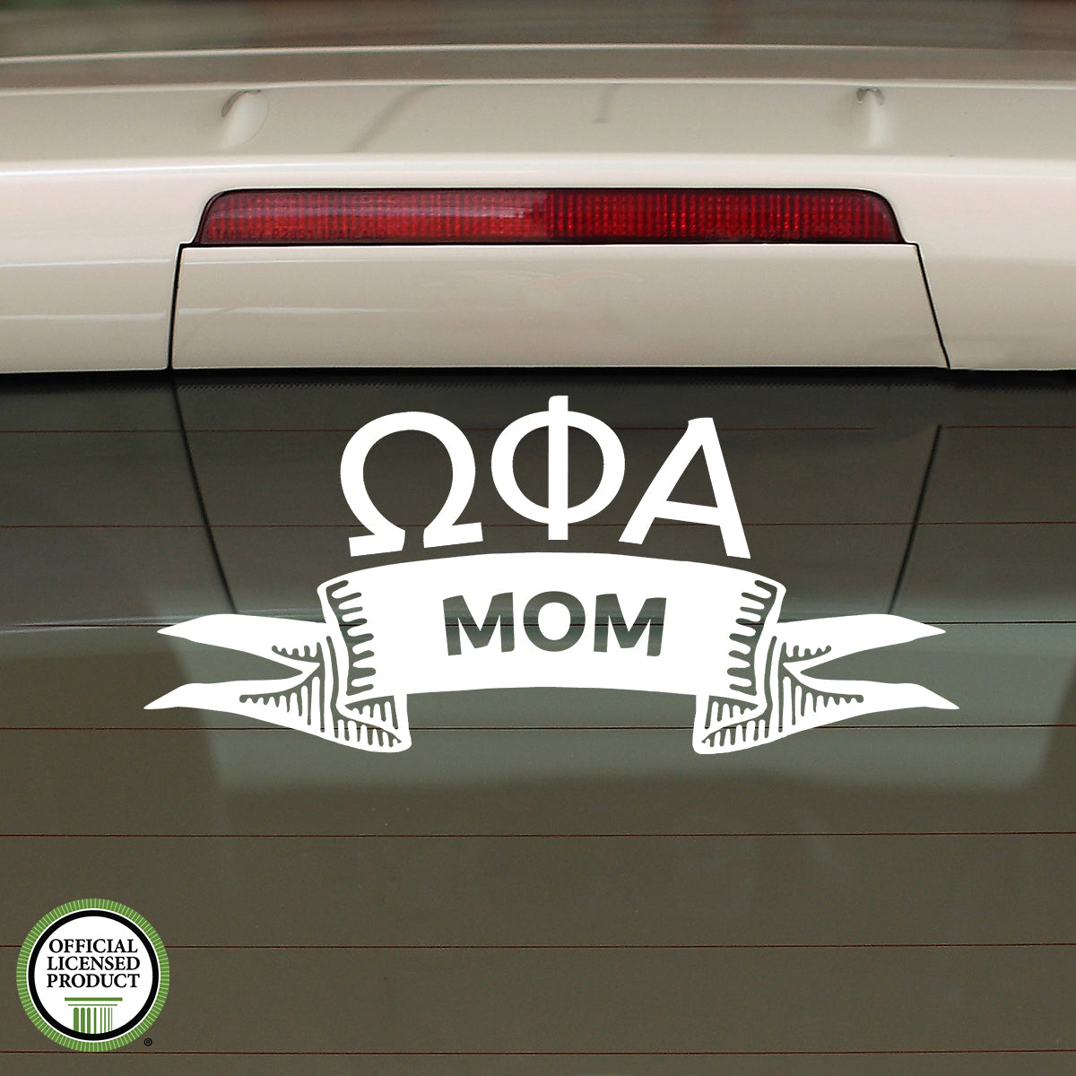 Brit and Bee Sorority Ribbon Mom Decal - Omega Phi Alpha