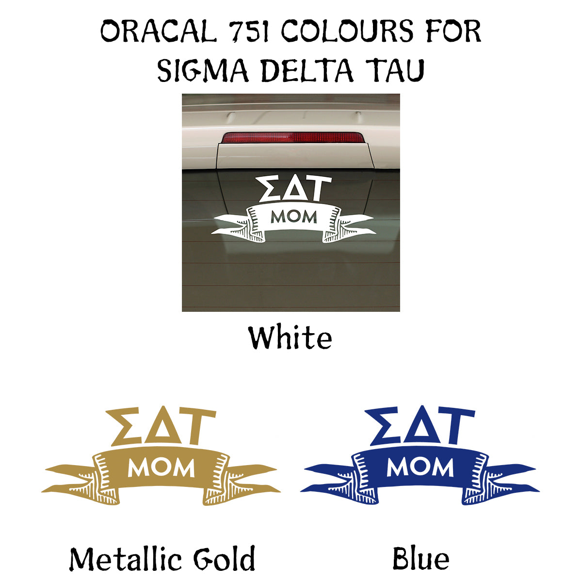Brit and Bee Sorority Ribbon Mom Decal - Sigma Delta Tau
