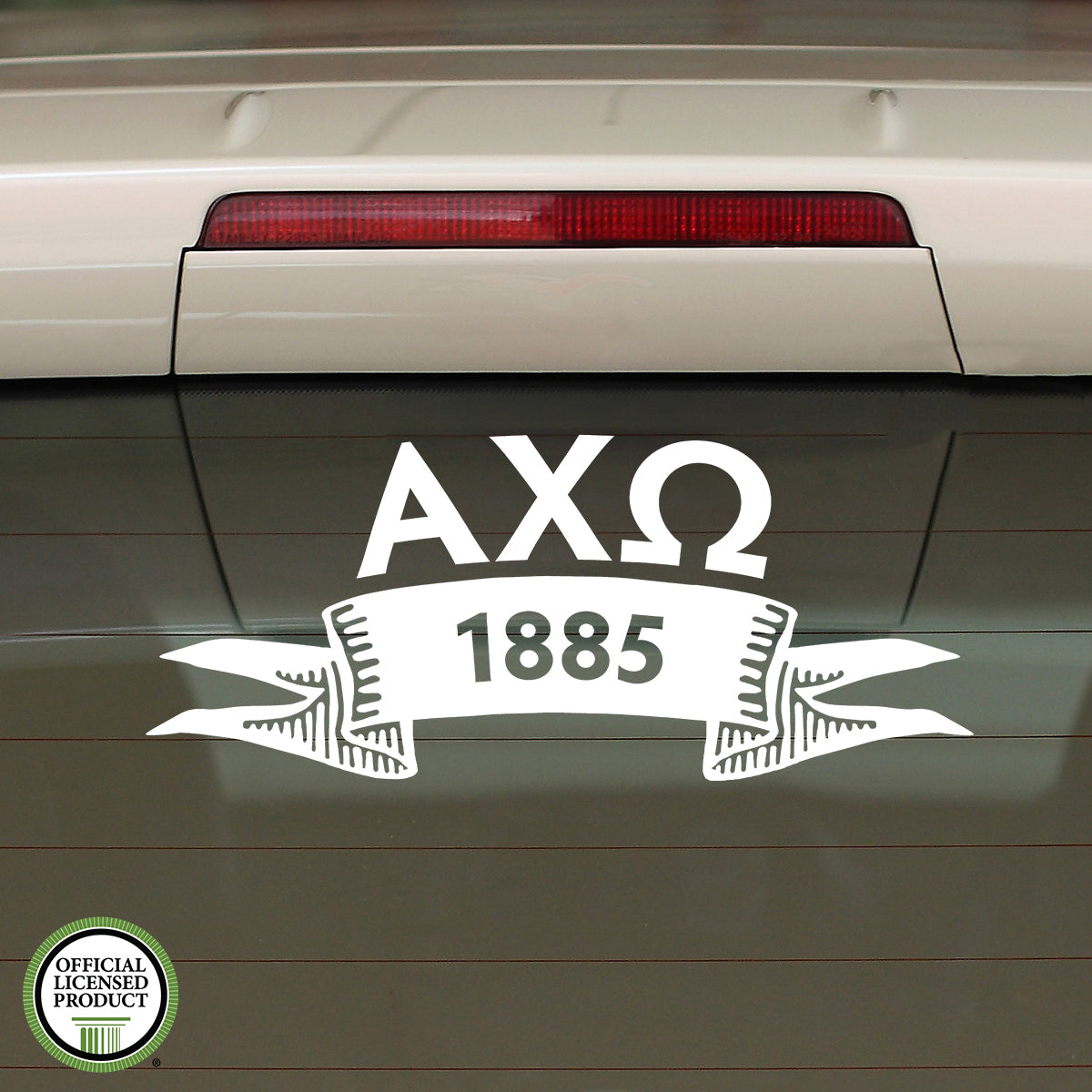 Brit and Bee Sorority Ribbon Year Decal - Alpha Chi Omega