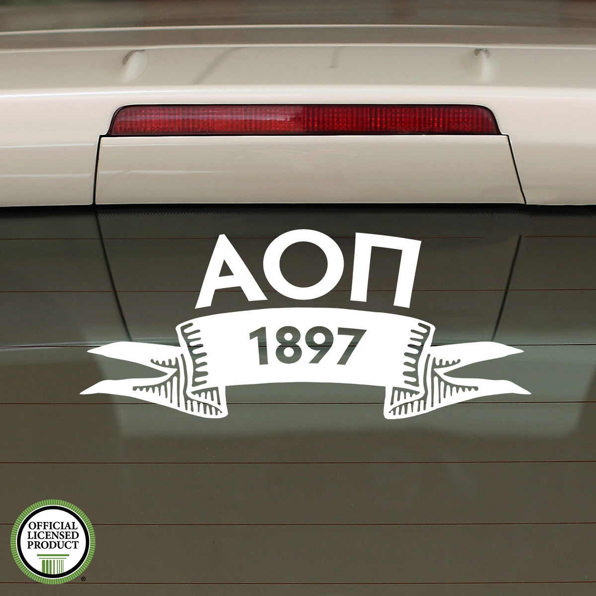 Brit and Bee Sorority Ribbon Year Decal - Alpha Omicron Pi
