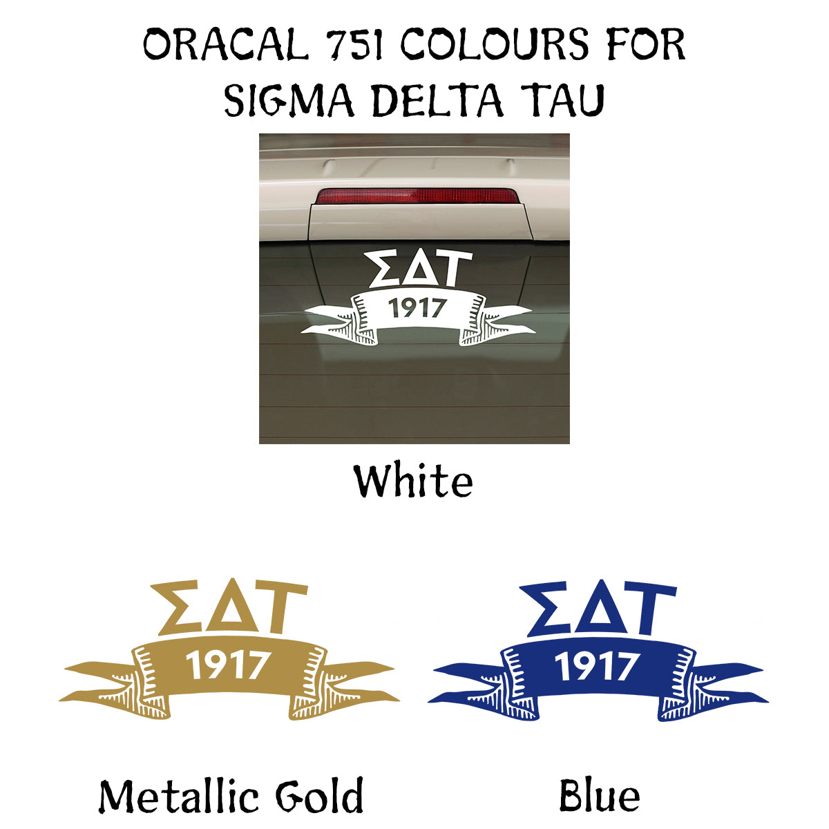 Brit and Bee Sorority Ribbon Year Decal - Sigma Delta Tau