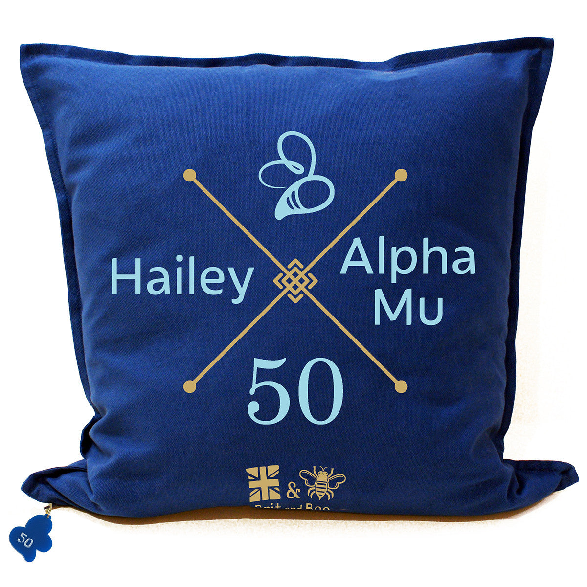 Brit and Bee Sorority Logo Throw Pillow - Omega Phi Alpha '50' BACK