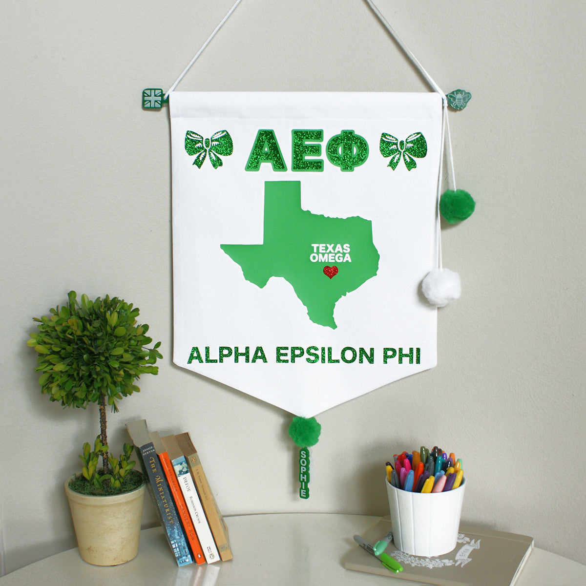 Sorority Chapter Pennant Flag - Alpha Epsilon Phi
