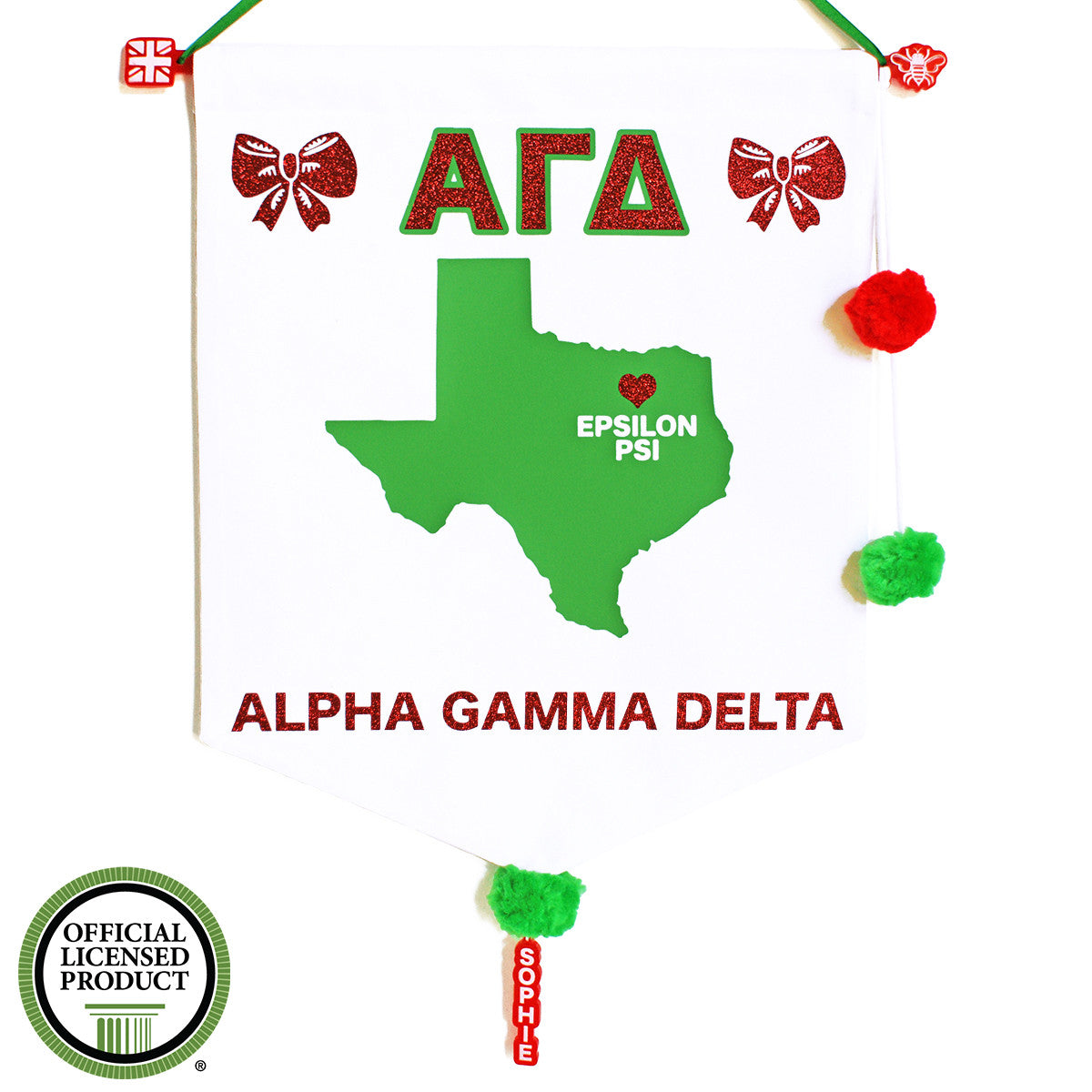 Sorority Chapter Pennant Flag - Alpha Gamma Delta