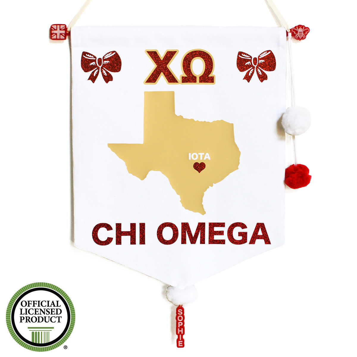 Sorority Chapter Pennant Flag - Chi Omega