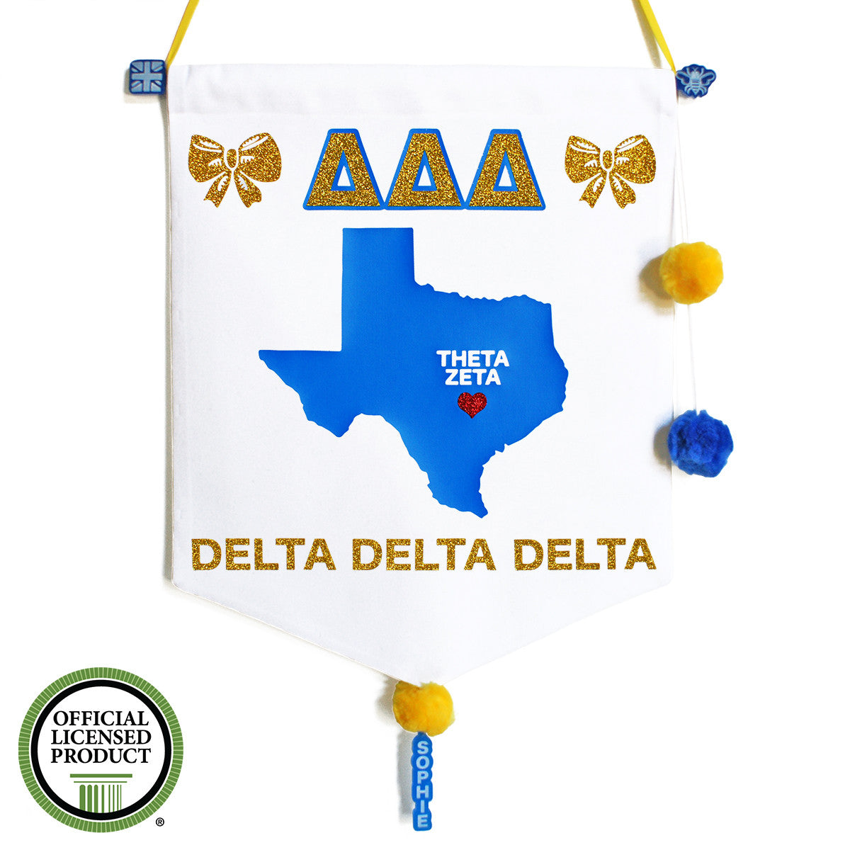 Sorority Chapter Pennant Flag - Delta Delta Delta