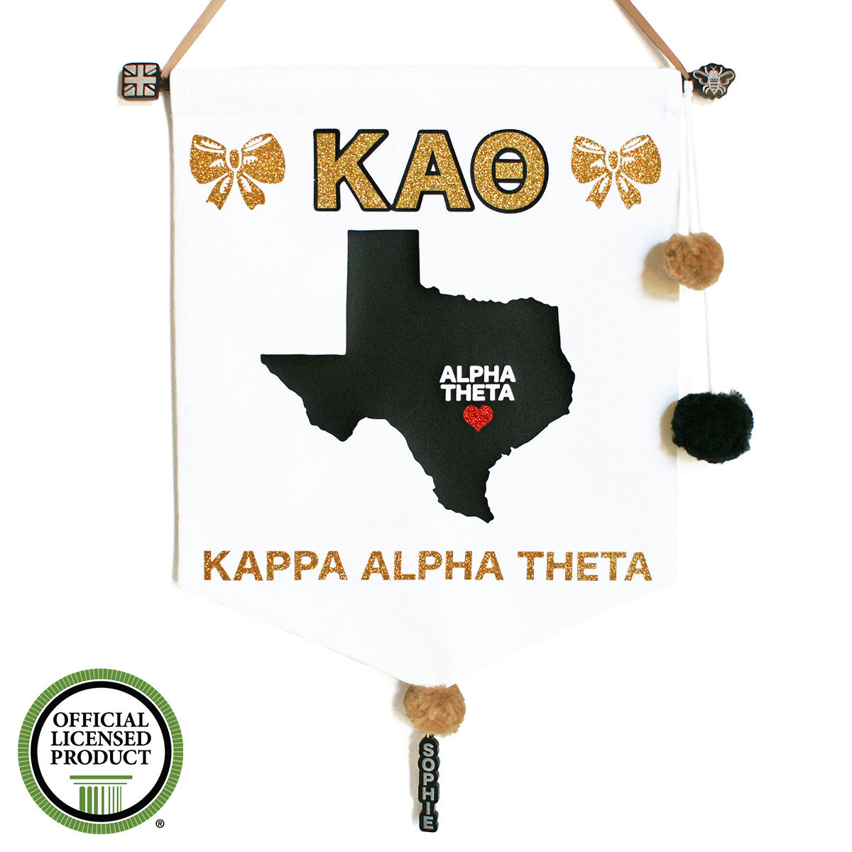 Sorority Chapter Pennant Flag - Kappa Alpha Theta