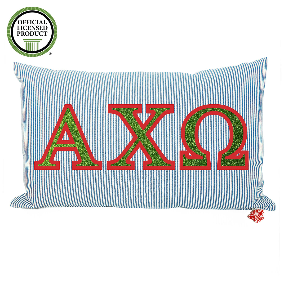 Brit and Bee Sorority Glitter Ticking Stripe Throw Pillow Alpha Chi Omega