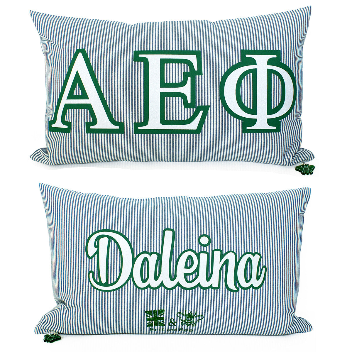Brit and Bee Sorority Glitter Ticking Stripe Throw Pillow Alpha Epsilon Phi