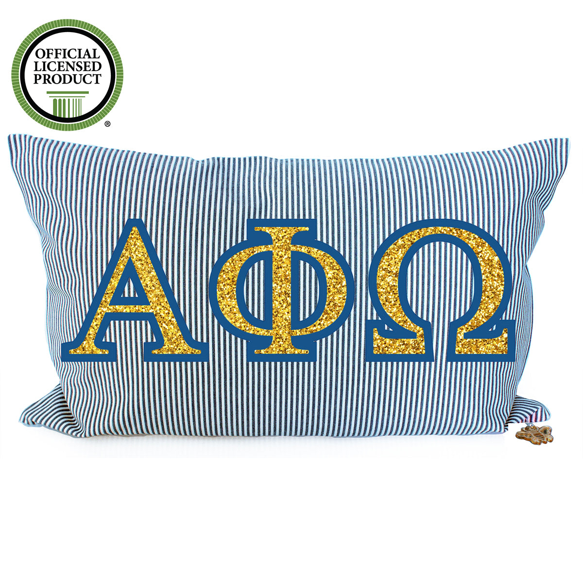Brit and Bee Glitter Ticking Stripe Throw Pillow - Alpha Phi Omega