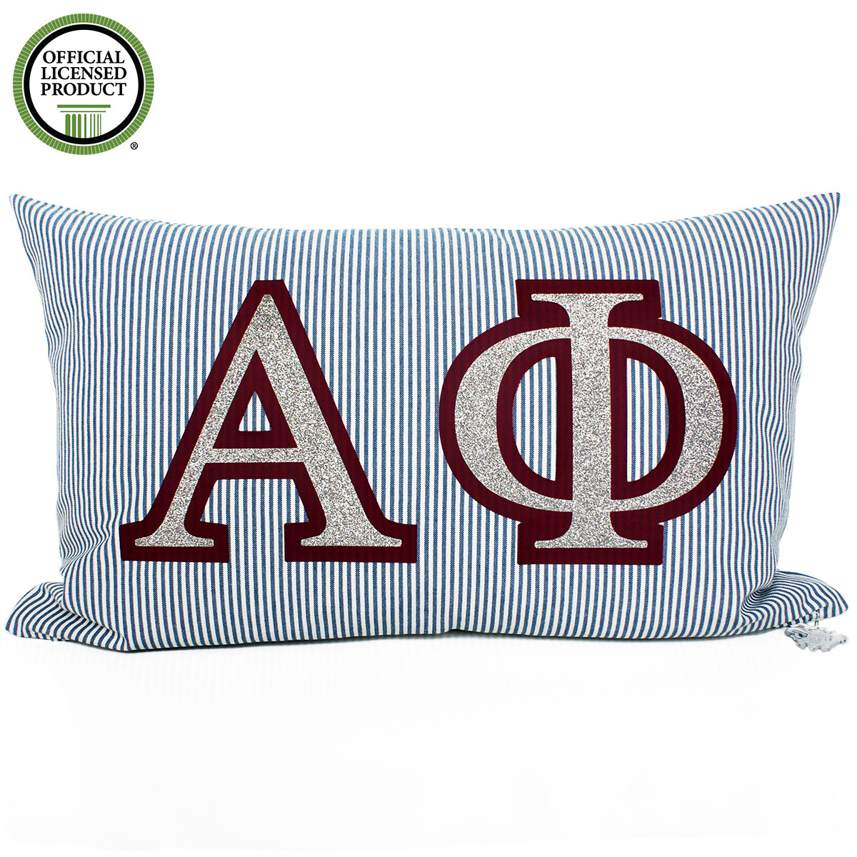Brit and Bee Sorority Glitter Ticking Stripe Throw Pillow Alpha Phi
