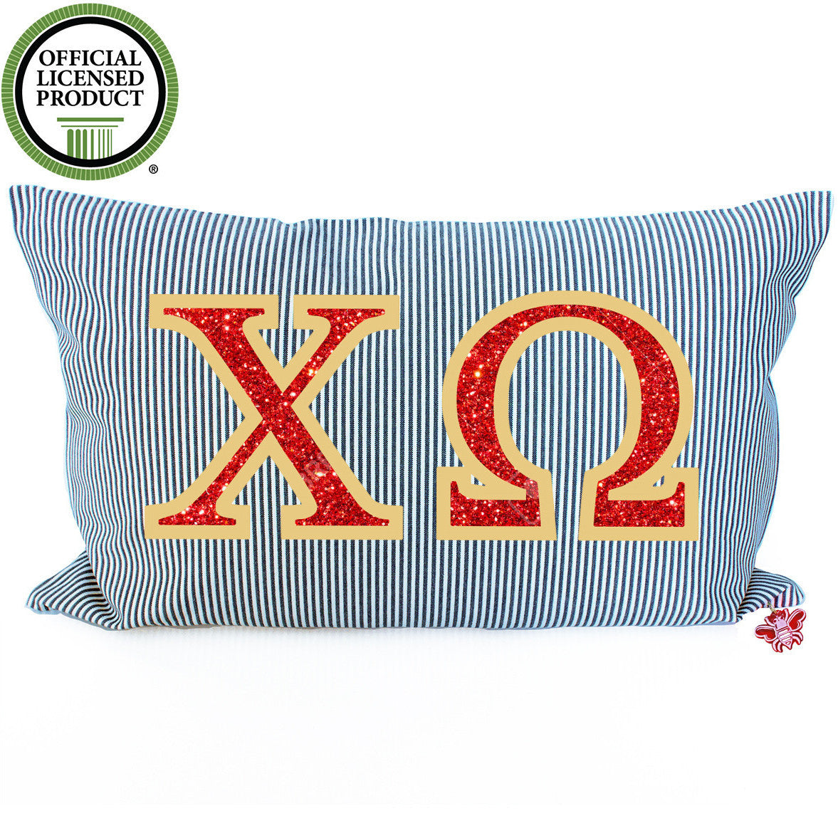 Brit and Bee Sorority Glitter Ticking Stripe Throw Pillow Chi Omega