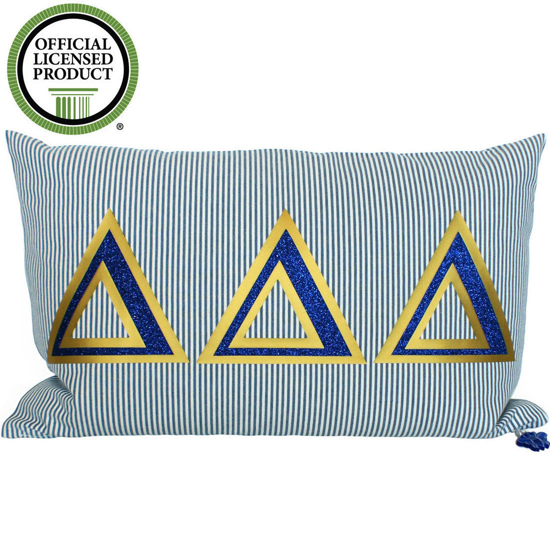 Brit and Bee Sorority Glitter Ticking Stripe Throw Pillow Delta Delta Delta