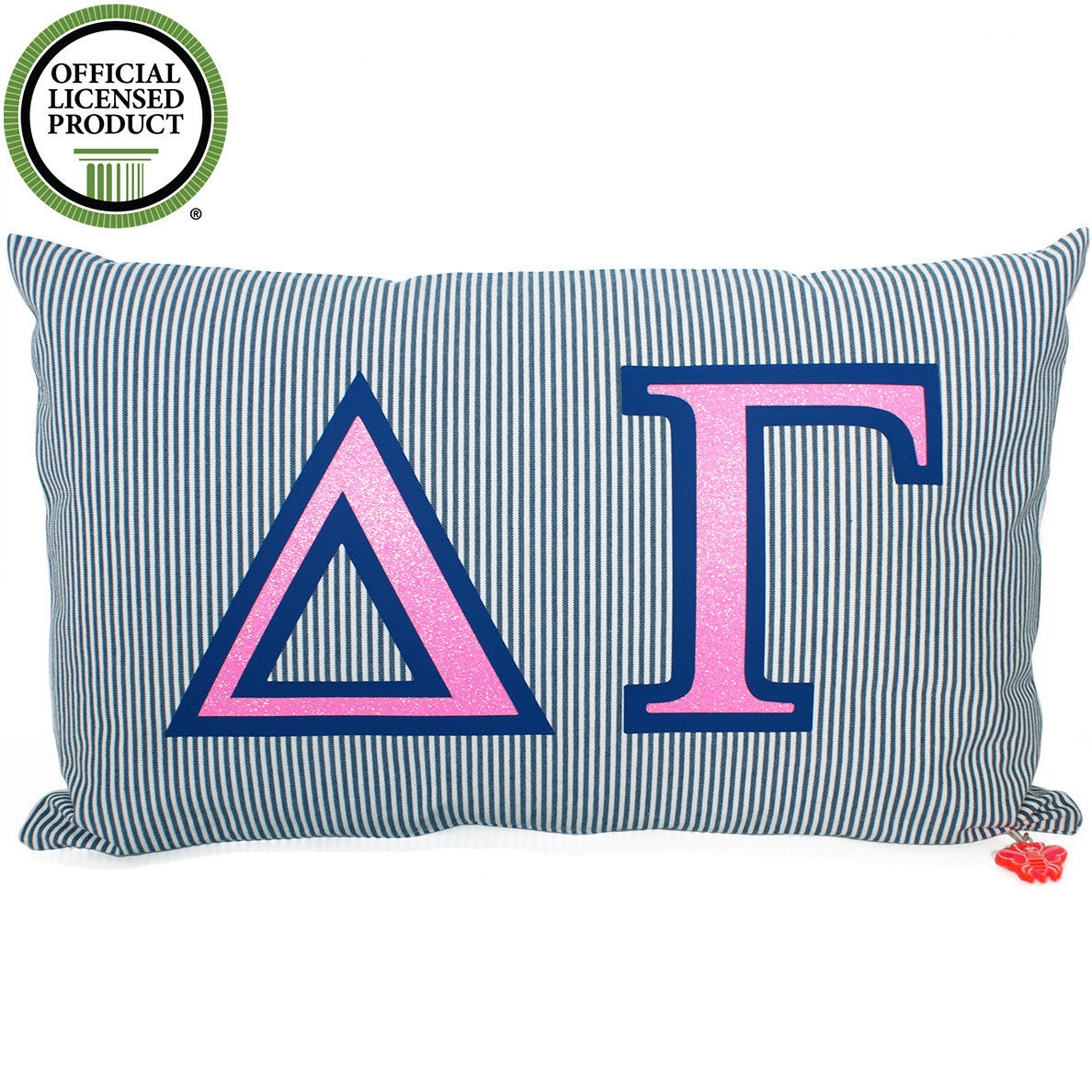 Brit and Bee Sorority Glitter Ticking Stripe Throw Pillow - Delta Gamma