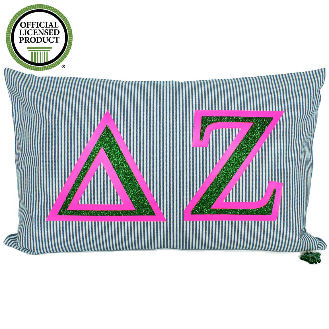 Brit and Bee Sorority Glitter Ticking Stripe Throw Pillow Delta Zeta