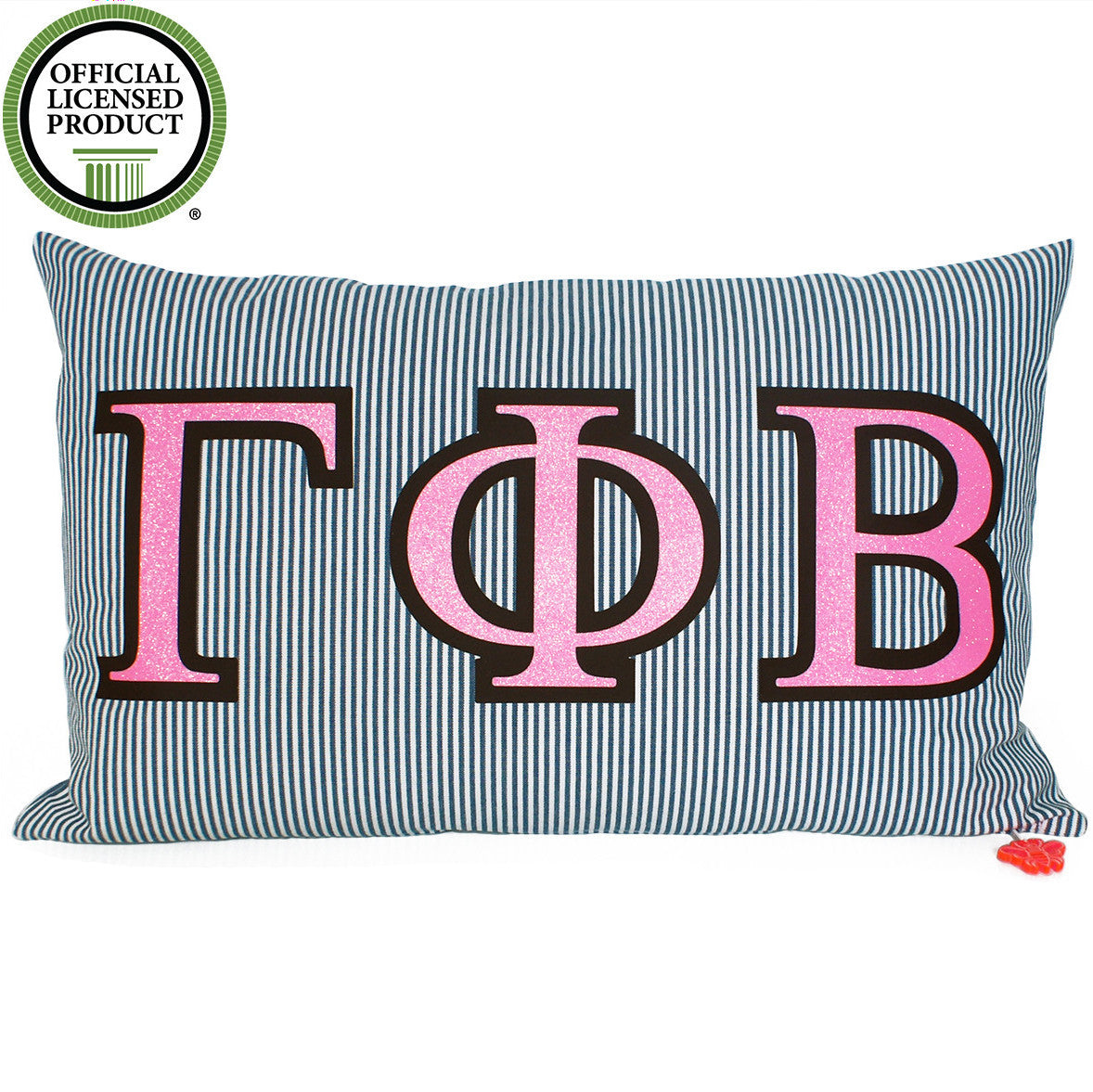 Brit and Bee Sorority Glitter Ticking Stripe Throw Pillow Gamma Phi Beta