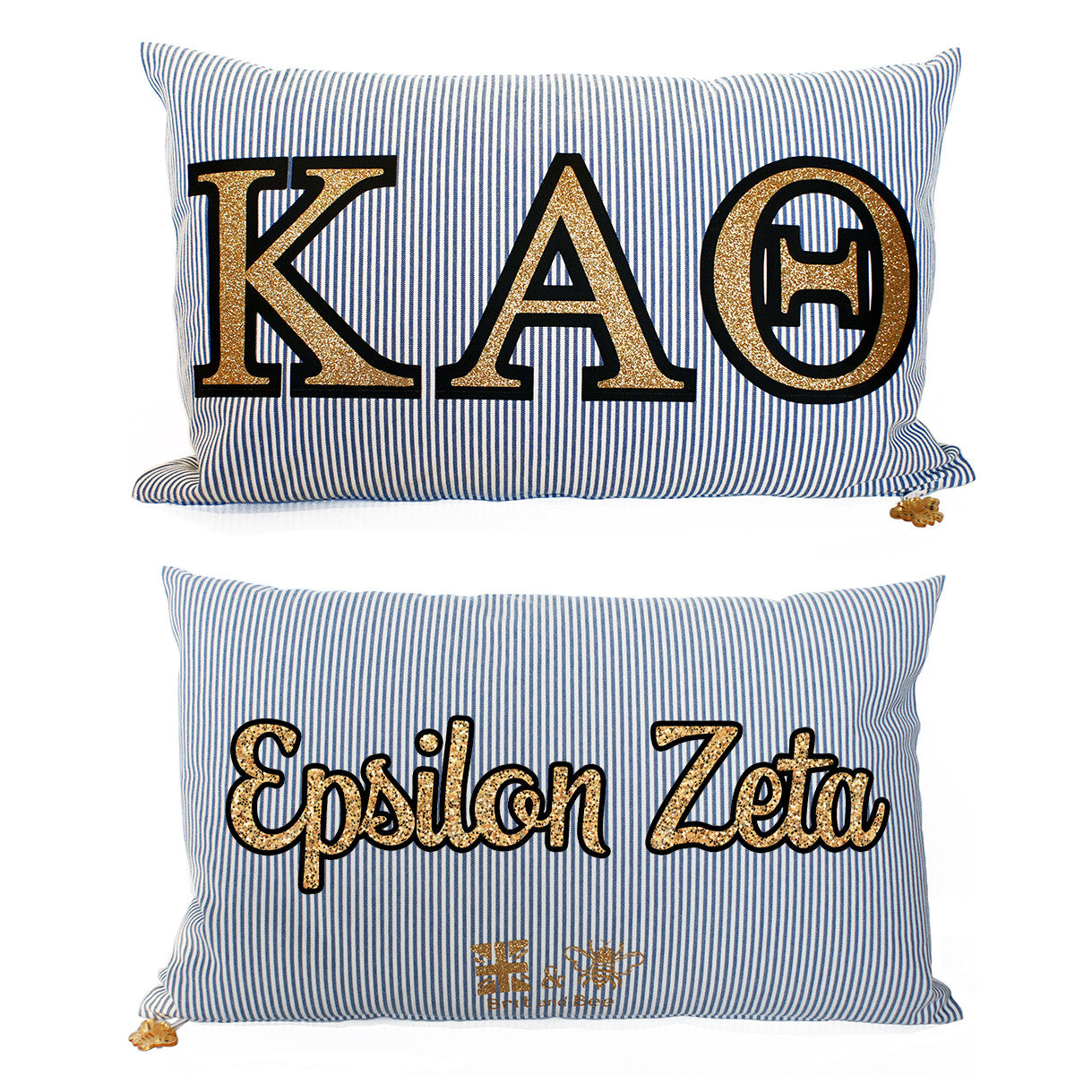 Brit and Bee Sorority Glitter Ticking Stripe Throw Pillow Kappa Alpha Theta