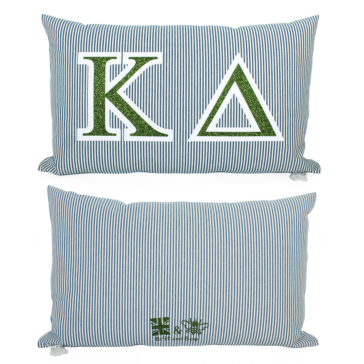 Brit and Bee Sorority Glitter Ticking Stripe Throw Pillow Kappa Delta
