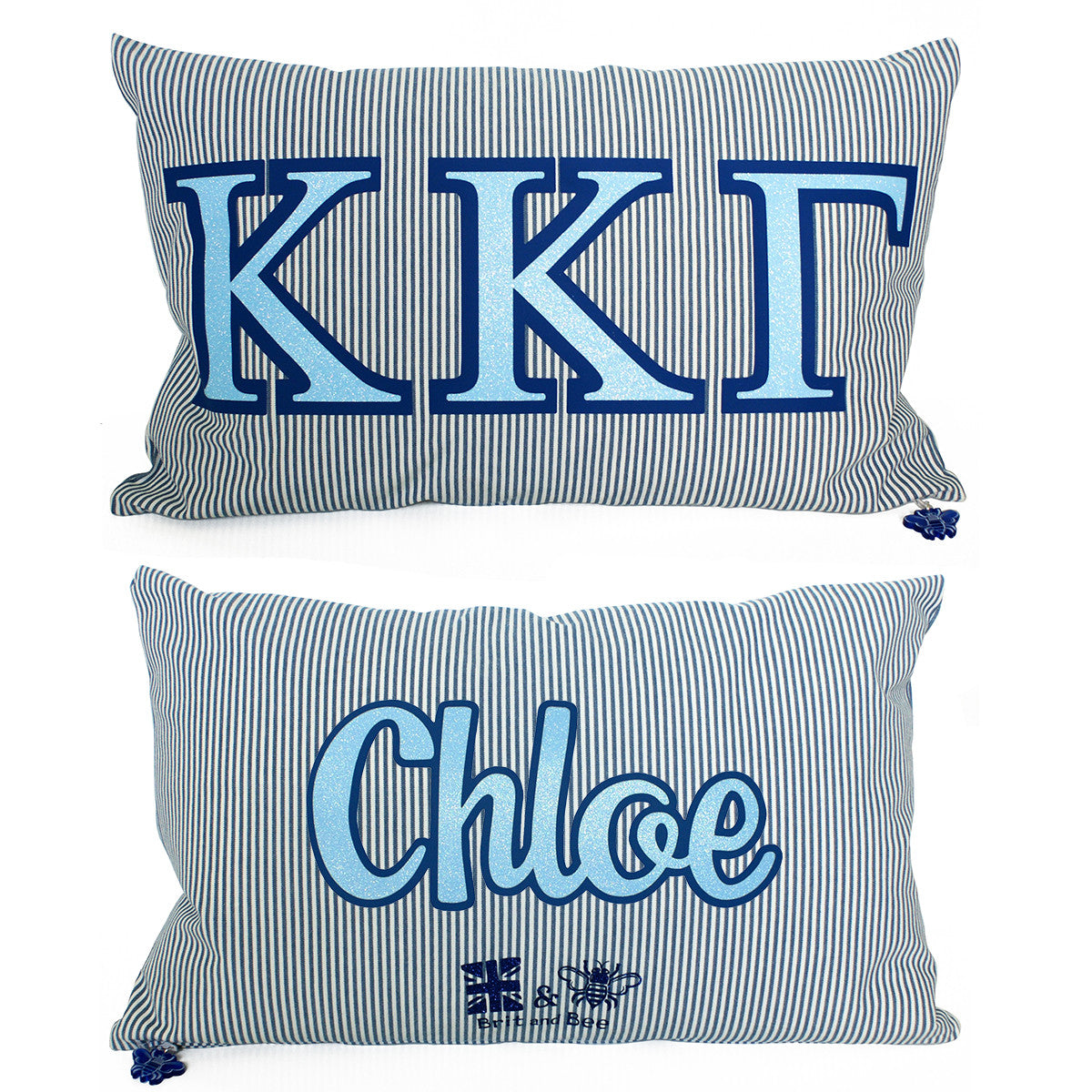 Brit and Bee Sorority Glitter Ticking Stripe Throw Pillow Kappa Kappa Gamma