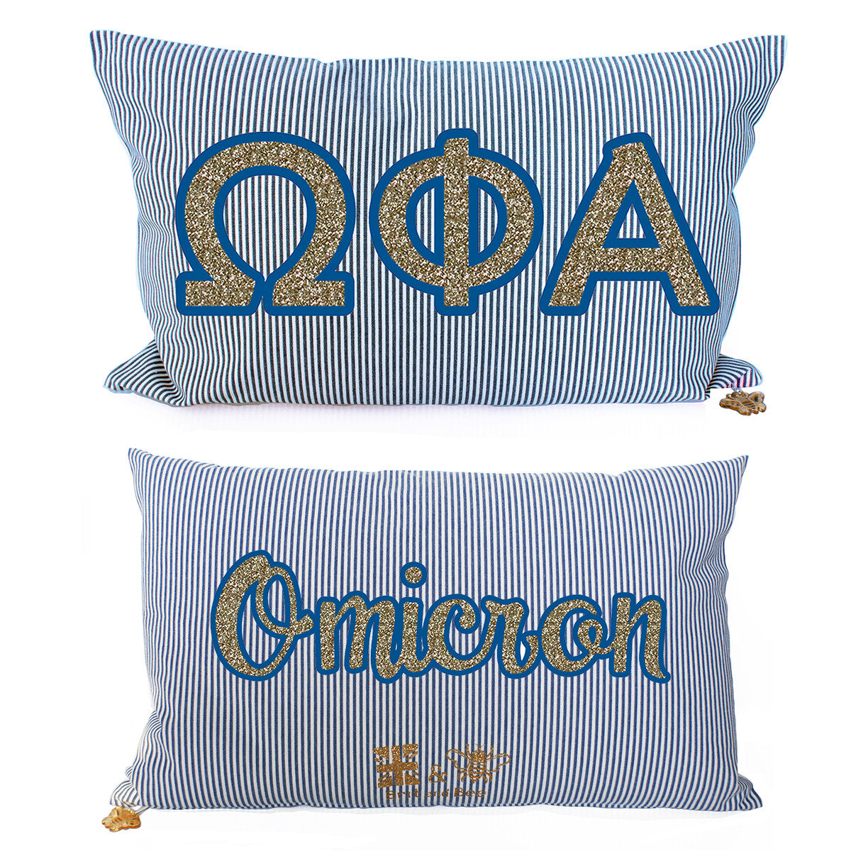 Brit and Bee Sorority Glitter Ticking Stripe Throw Pillow Omega Phi Alpha