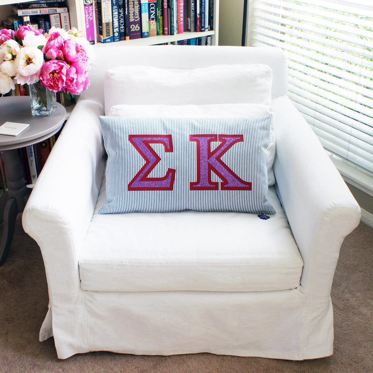Brit and Bee Sorority Glitter Ticking Stripe Throw Pillow Sigma Kappa FRONT
