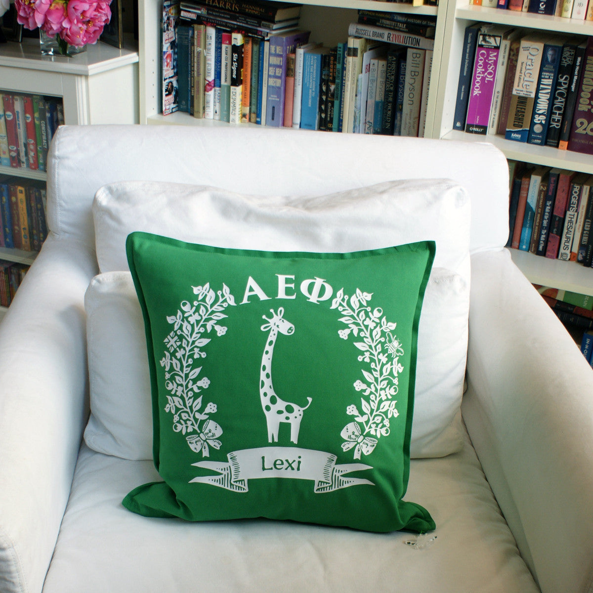 Brit and Bee Sorority Logo Throw Pillow - Alpha Epsilon Phi CHAIR