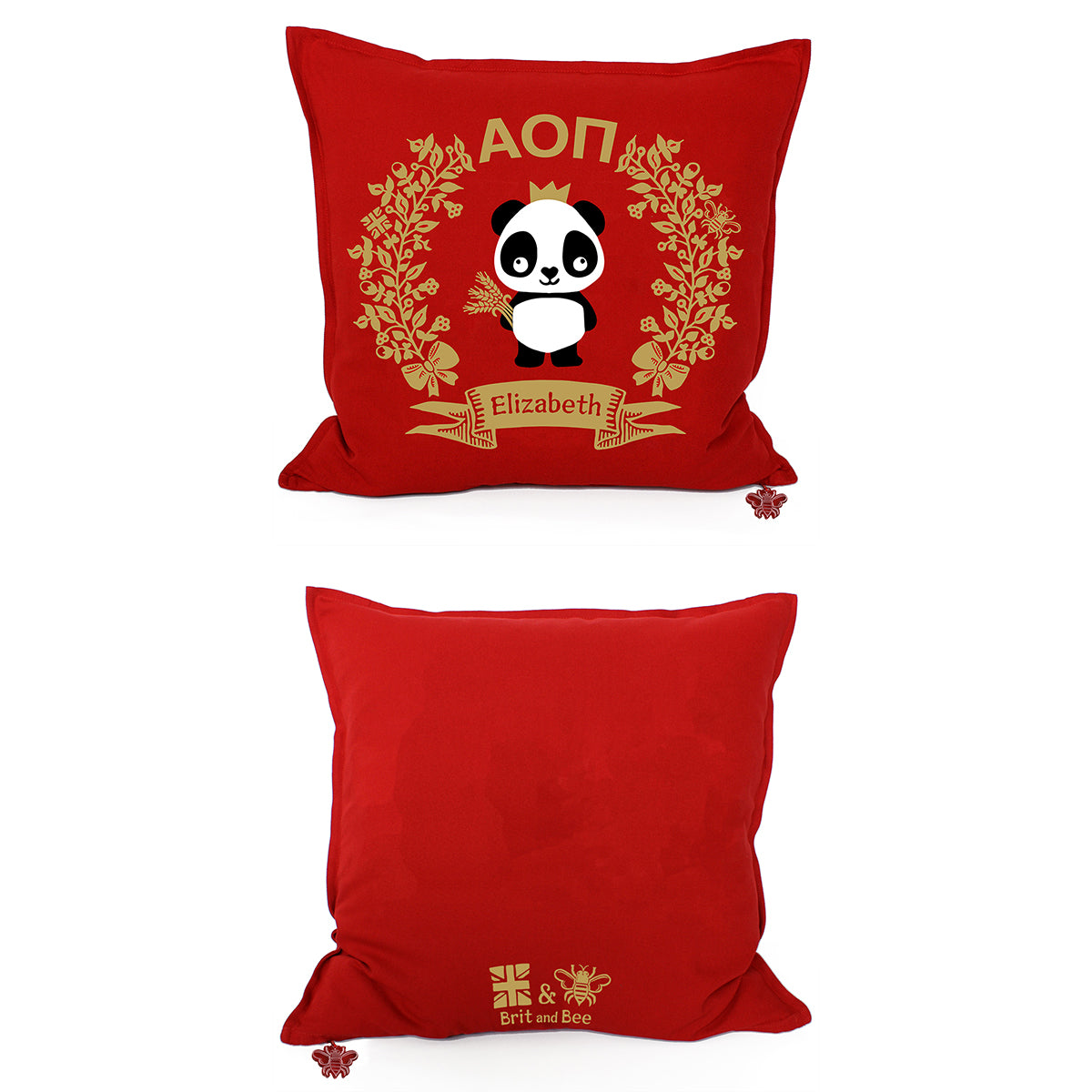 Brit and Bee Sorority Logo Throw Pillow - Alpha Omicron Pi