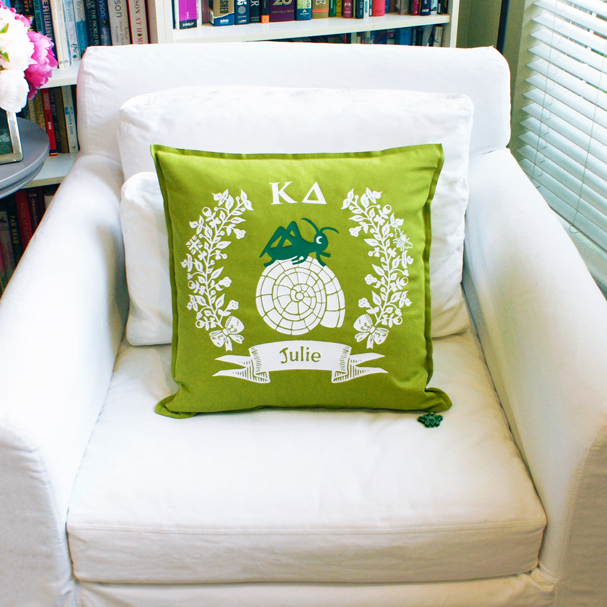 Brit and Bee Sorority Logo Throw Pillow - Kappa Delta