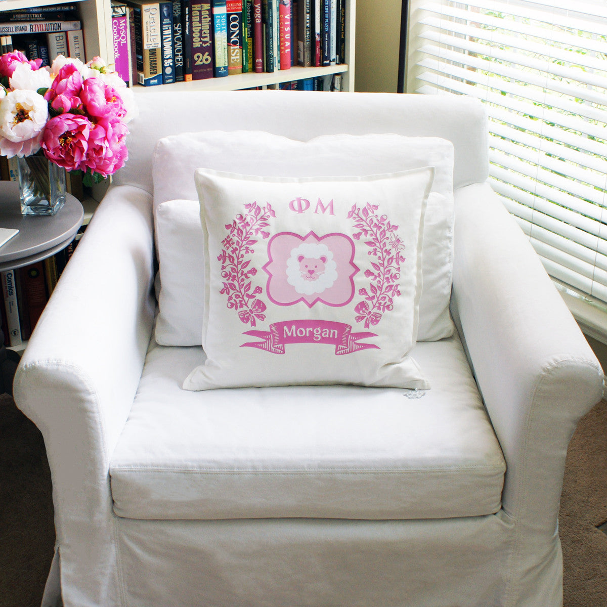 Brit and Bee Sorority Logo Throw Pillow - Phi Mu