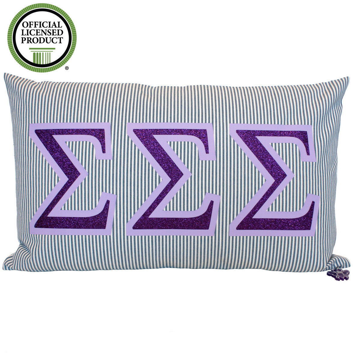 Brit and Bee Sorority Glitter Ticking Stripe Throw Pillow Tri Sigma