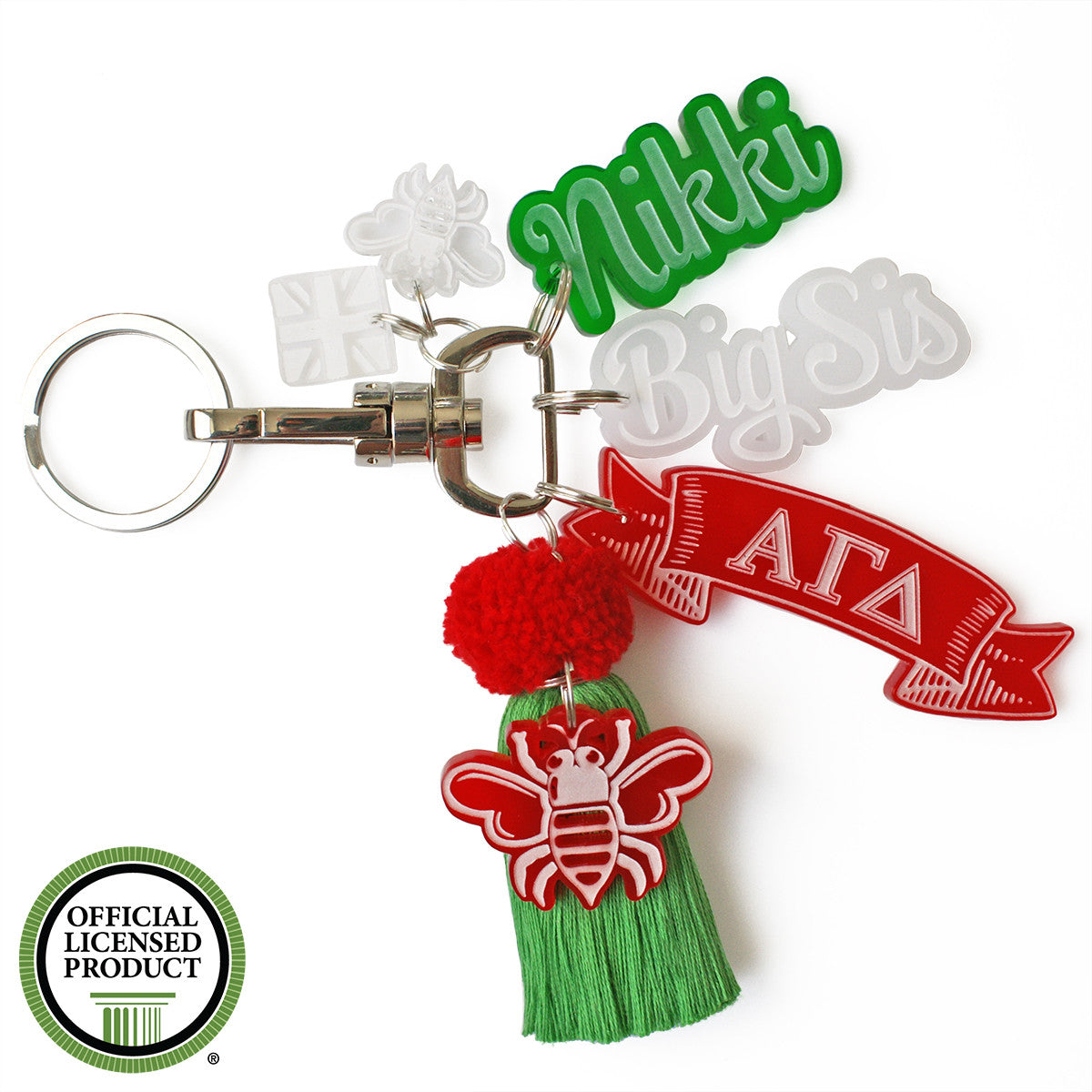 Brit and Bee Sorority PomPom Charm Keyring - Alpha Gamma Delta