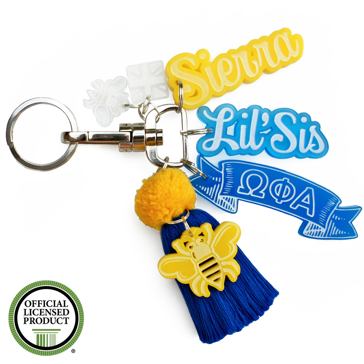 Brit and Bee Sorority PomPom Charm Keyring - Omega Phi Alpha