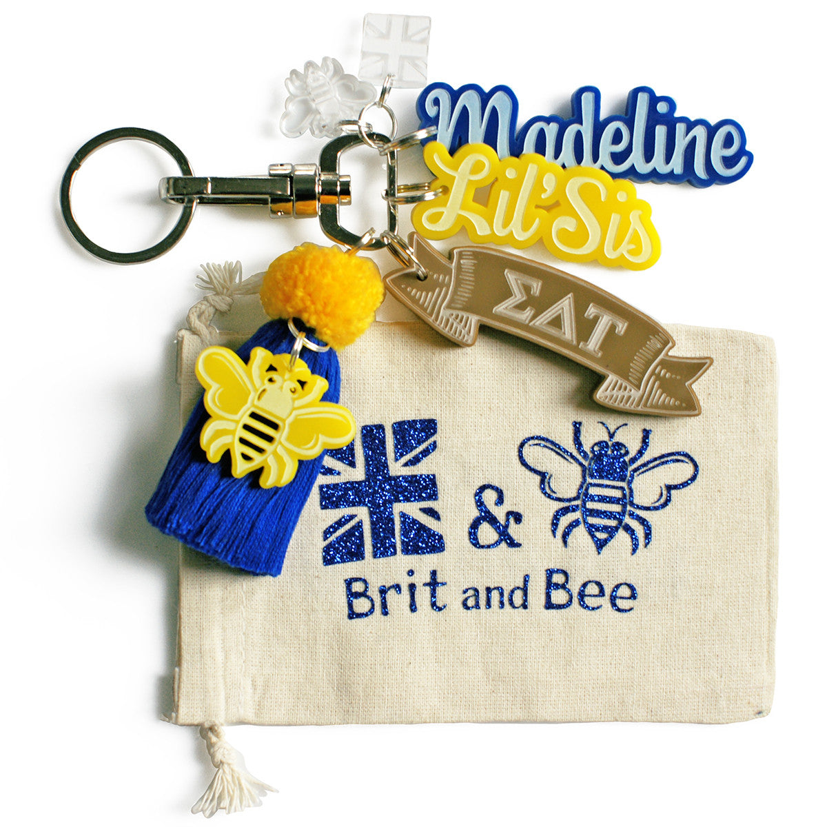 Brit and Bee Sorority PomPom Charm Keyring - Sigma Delta Tau