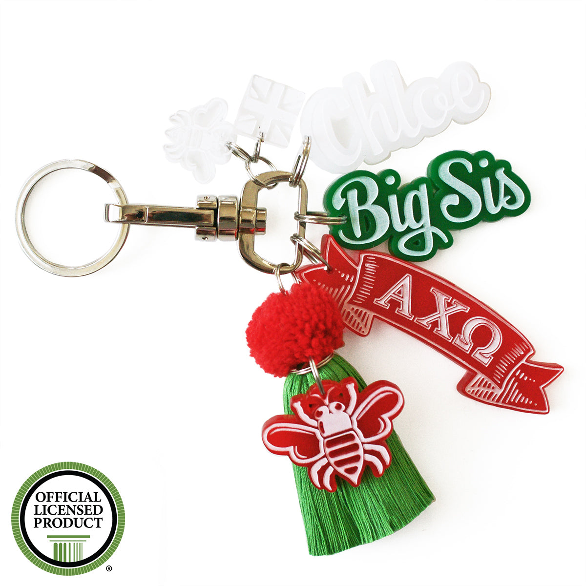 Brit and Bee Sorority PomPom Charm Keyring - Alpha Chi Omega