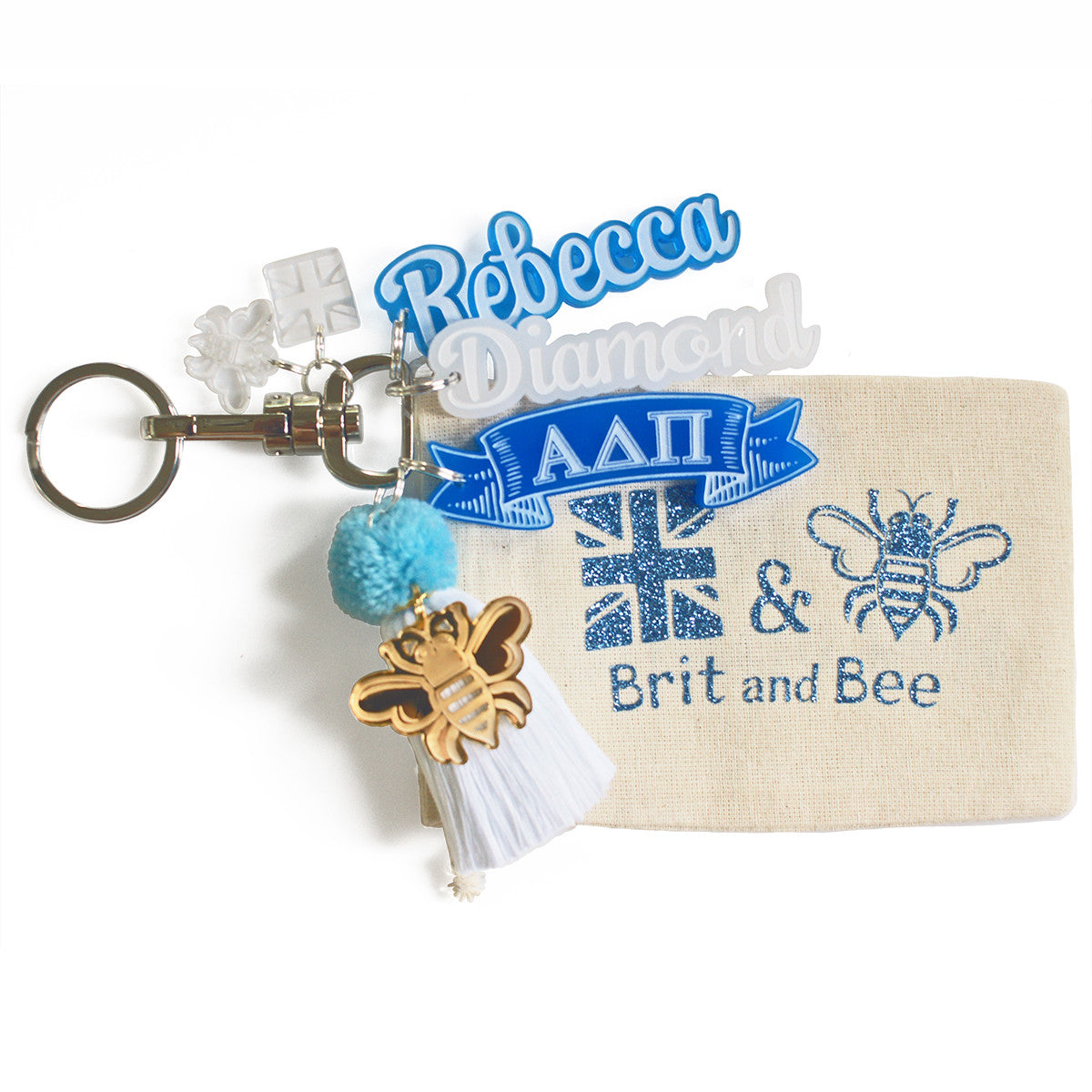 Brit and Bee Sorority PomPom Charm Keyring - Alpha Delta Pi