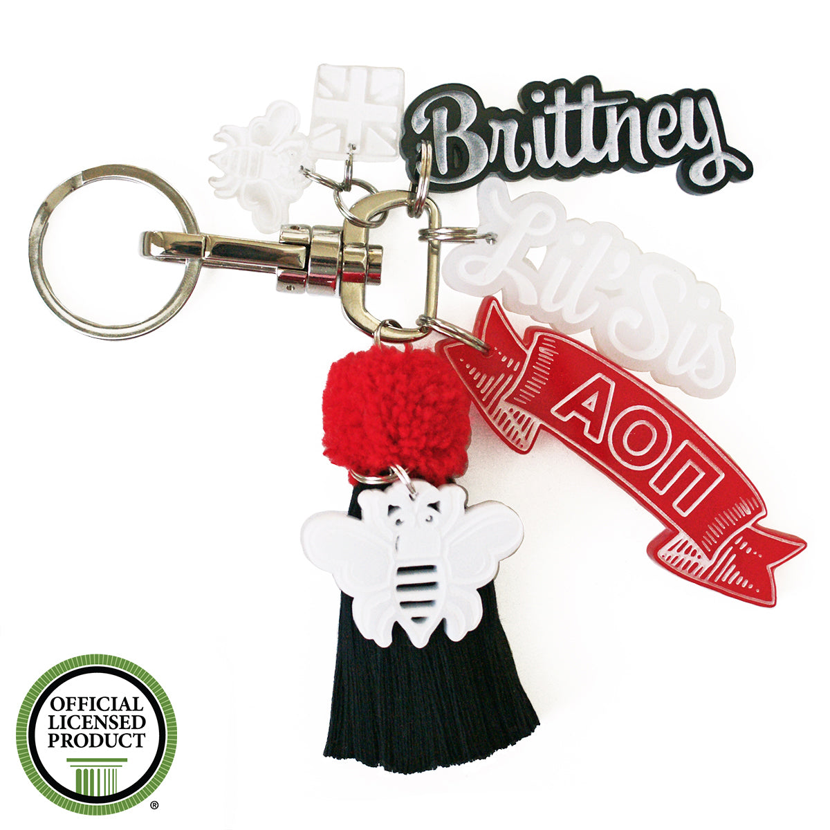 Brit and Bee Sorority PomPom Charm Keyring - Alpha Omicron Pi