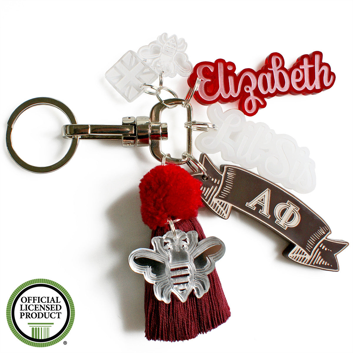 Brit and Bee Sorority PomPom Charm Keyring - Alpha Phi