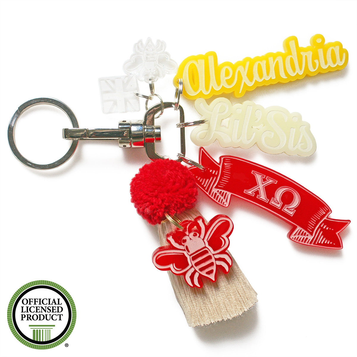 Brit and Bee Sorority PomPom Charm Keyring - Chi Omega