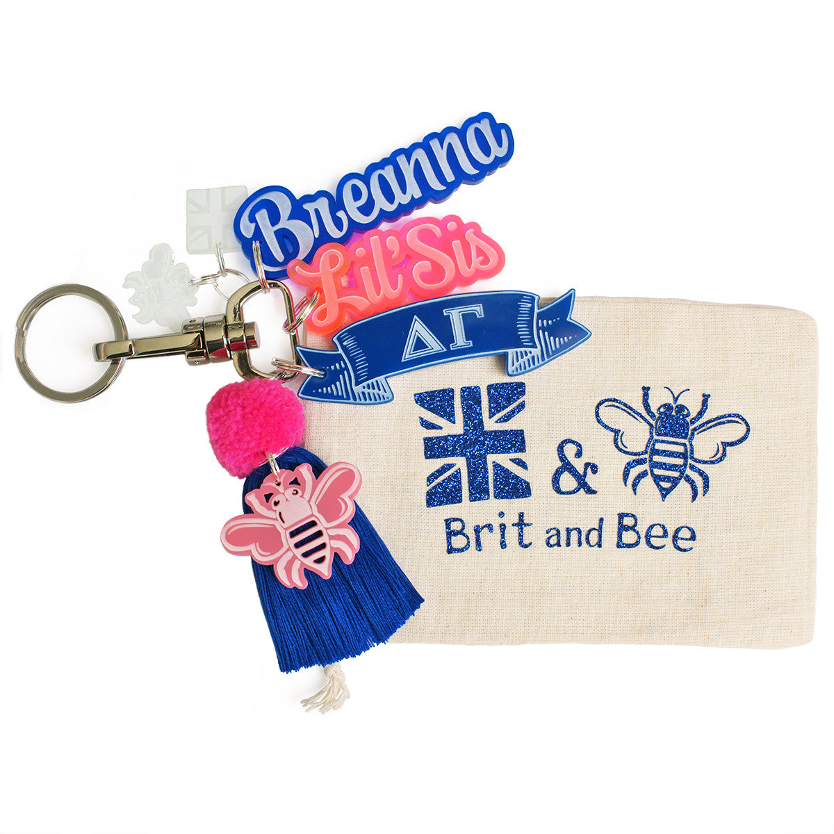 Brit and Bee Sorority PomPom Charm Keyring - Delta Gamma